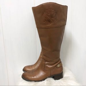 Franco Sarto Leather Knee High Riding Boots Camel